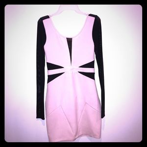 Long sleeve bodycon dress, Pink and Black